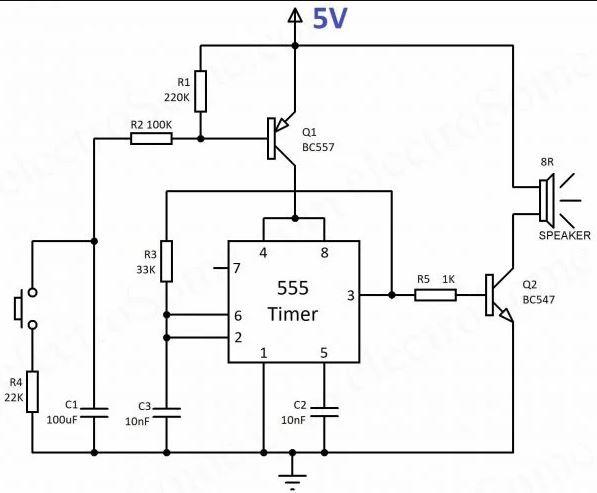 555 Timer - Devre Şeması kullanarak Ağlayan Siren