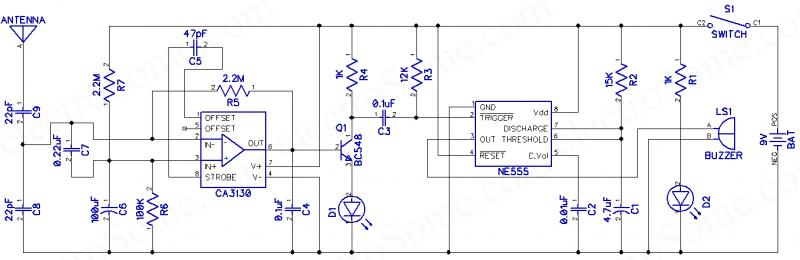 555 Kullanarak Cep Telefonu Dedektörü - Devre Şeması