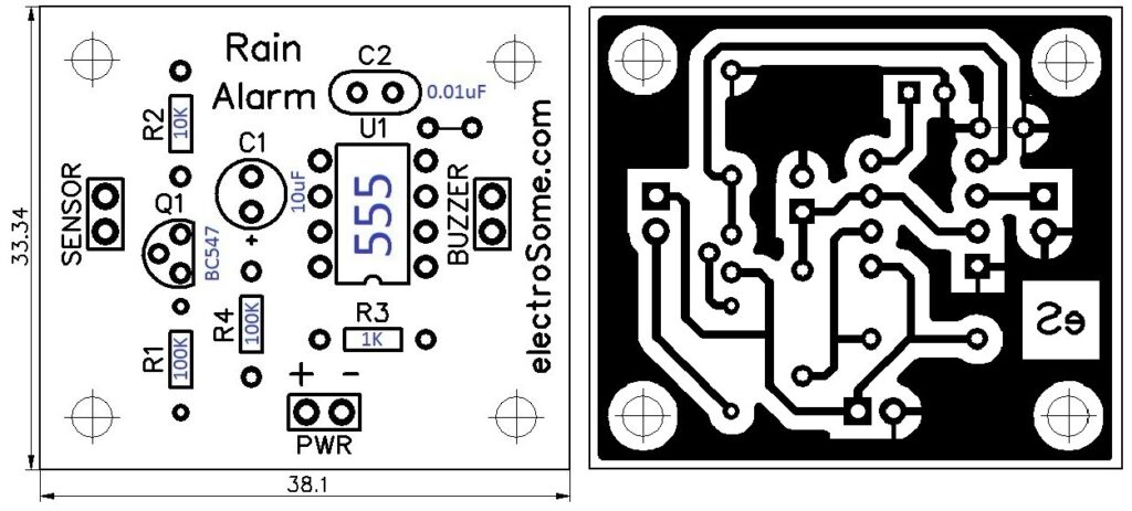 NE555 Yağmur Sensörü PCB